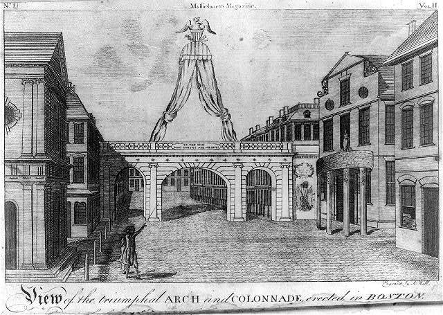 View of the triumphal arch and colonnade, erected in Boston / engrav'd by S. Hill.
