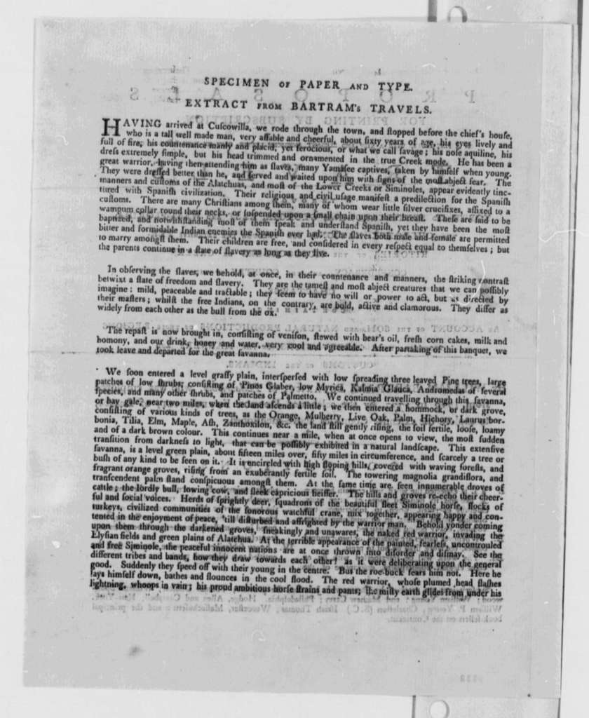 William Bartram, June 1790, Proposal for Printing Travels by Subscription