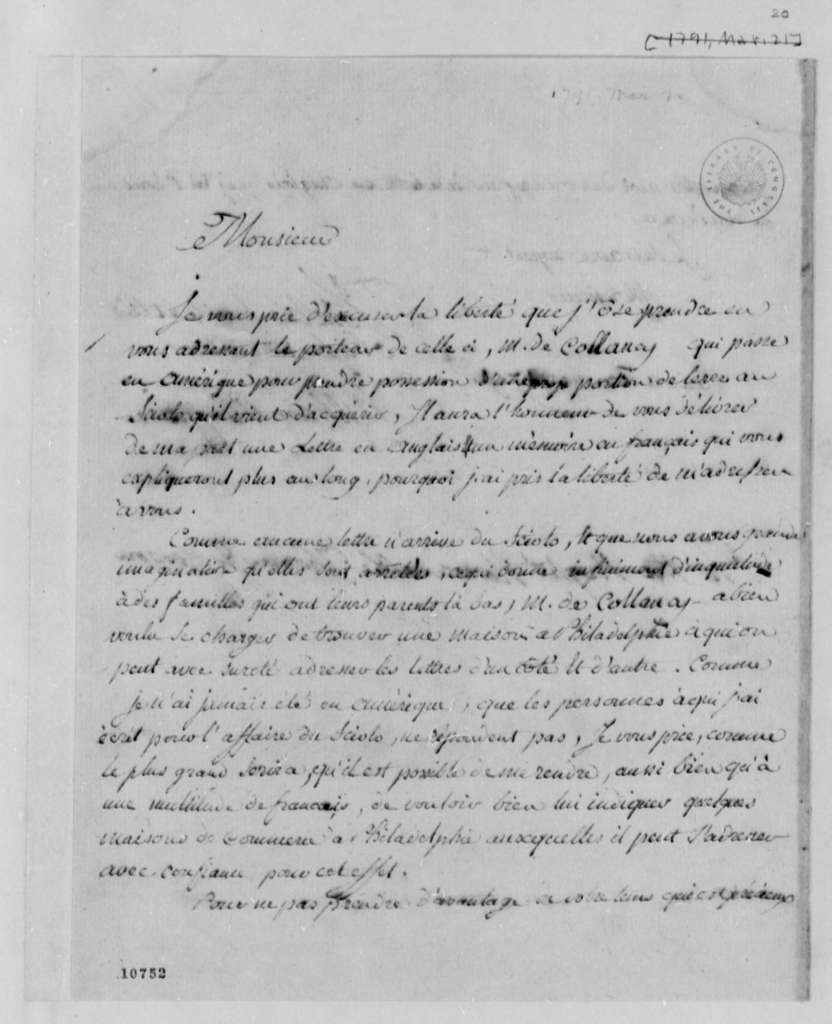 William Playfair to Thomas Jefferson, March 20, 1790, in French
