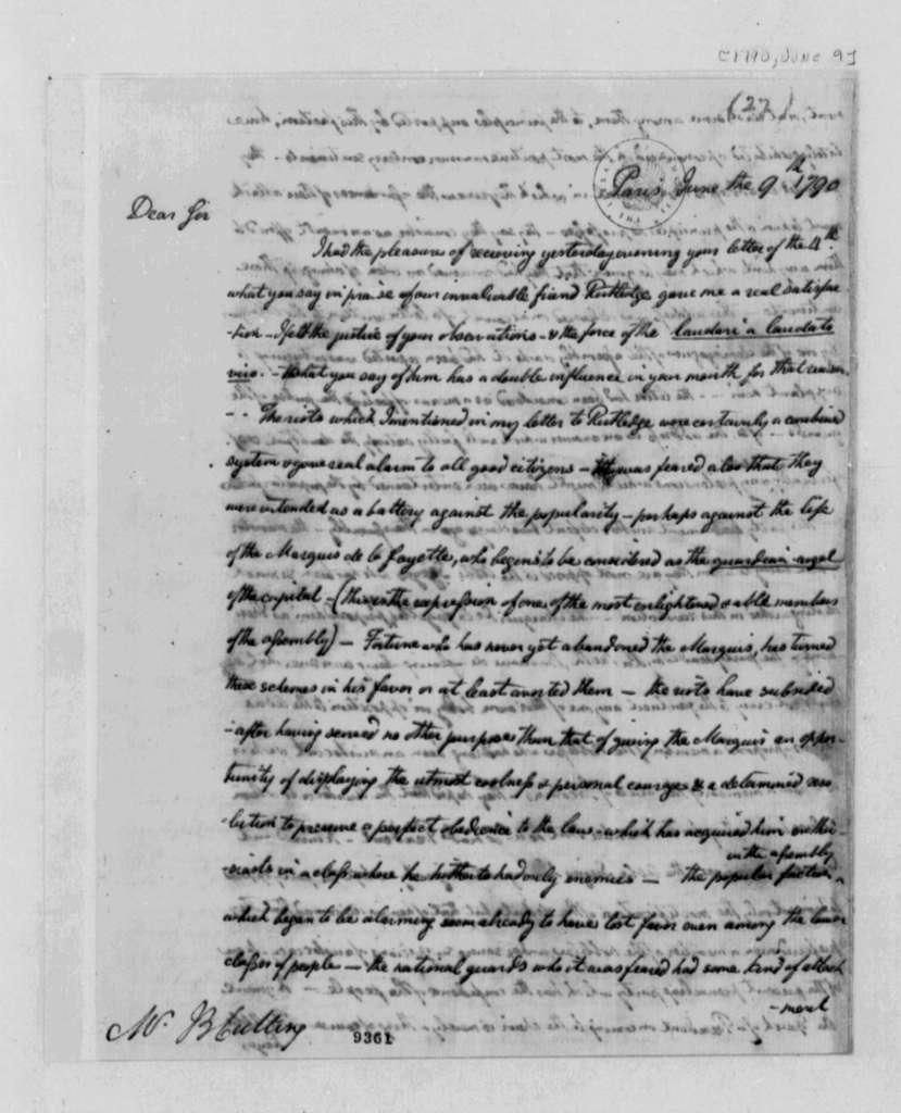 William Short to John B. Cutting, June 9, 1790