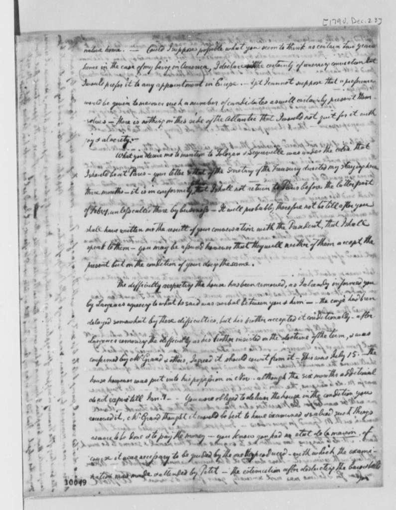 William Short to Thomas Jefferson, December 23, 1790