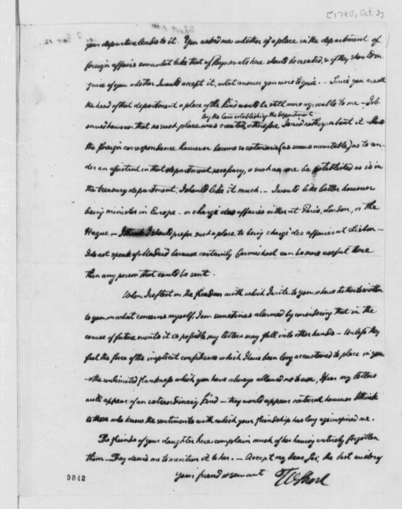 William Short to Thomas Jefferson, October 3, 1790