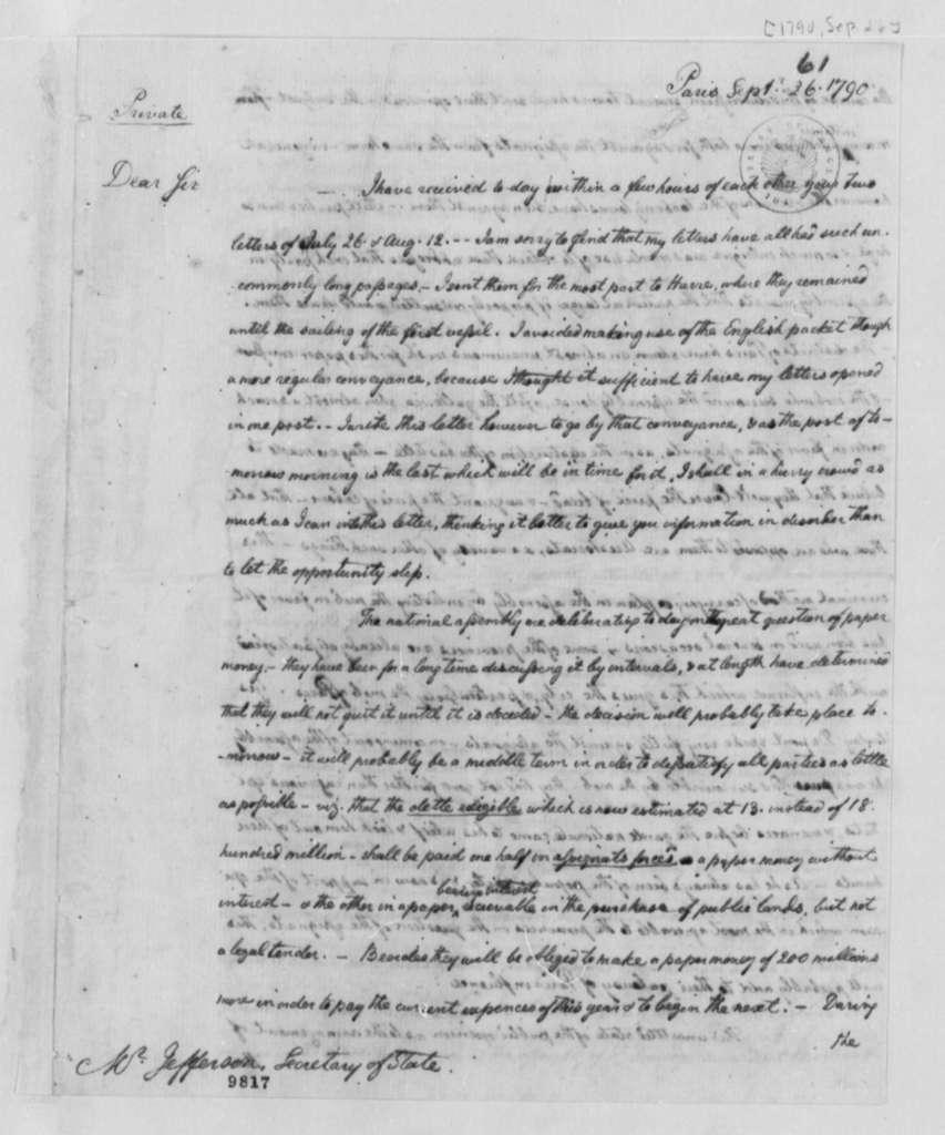 William Short to Thomas Jefferson, September 26, 1790