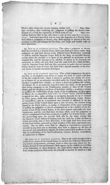 A bill to establish the judicial courts of the United States. New-York, Printed by Thomas Greenleaf [1791?].