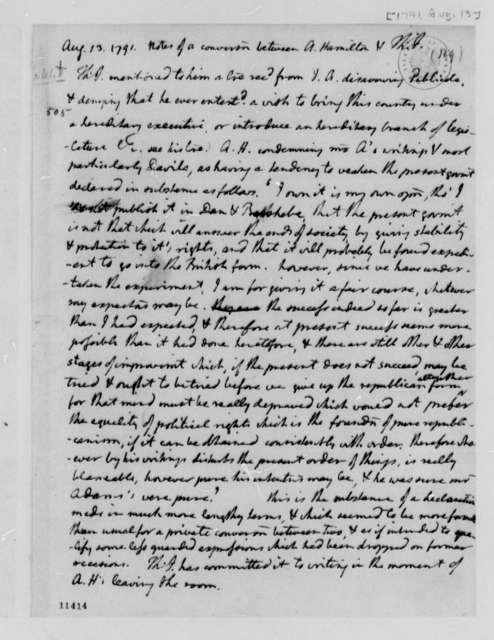 Alexander Hamilton, August 13, 1791, Jefferson's Notes on Publicola Affair