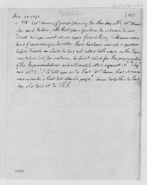 Alexander Hamilton, December 25, 1791, Notes on James Gunn Conversation