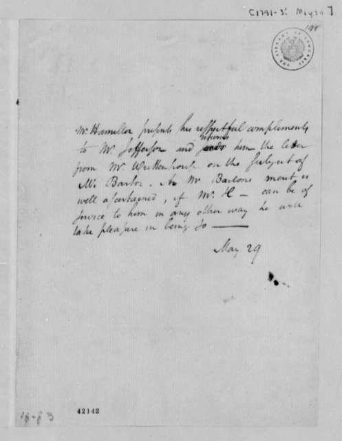 Alexander Hamilton to Thomas Jefferson, May 29, 1791