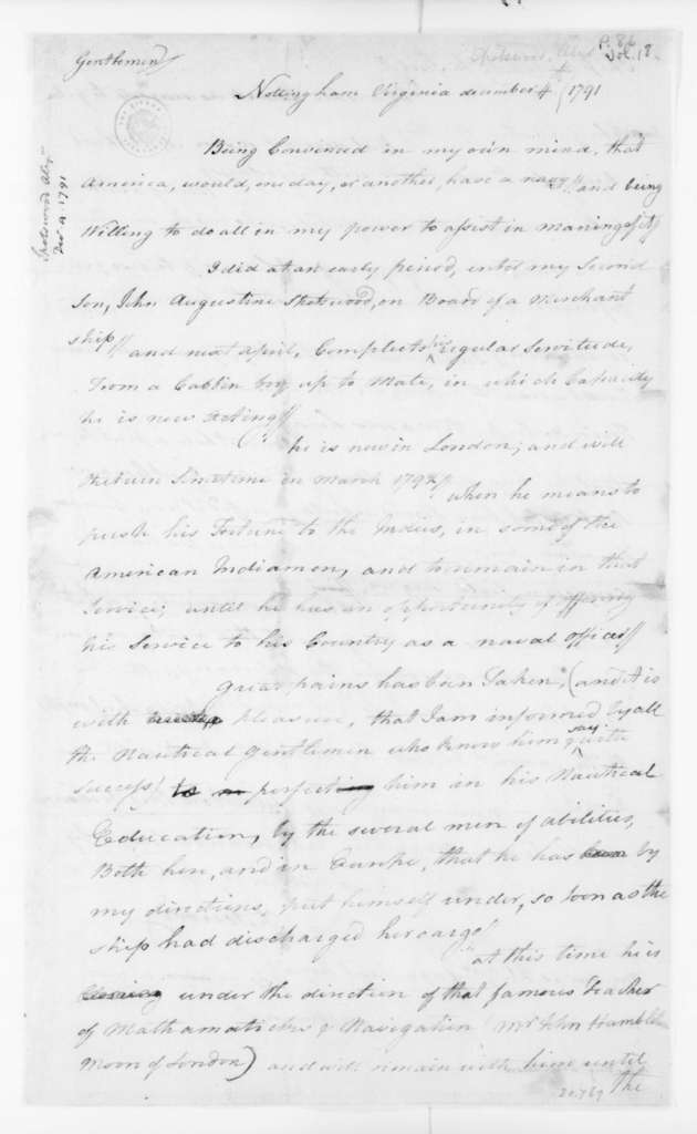 Alexander Spotswood to Virginia Congressional Delegation, December 4, 1791.