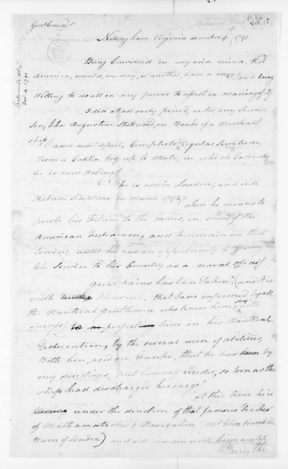 Alexander Spotswood to Virginia Congressional Delegation, December 4, 1791.