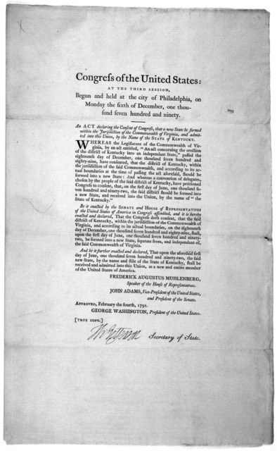 ... An act declaring the consent of Congress that a new state be formed within the jurisdiction of the Commonwealth of Virginia, and admitted into this Union, by the name of the state of Kentucky. [Philadelphia: Printed by Francis Childs and Joh