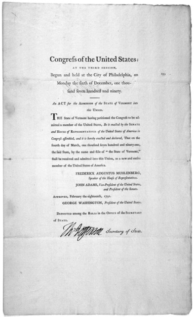 ... An act for the admission of the State of Vermont into this Union. [Philadelphia: Printed by Francis Childs and John Swaine, 1791.].