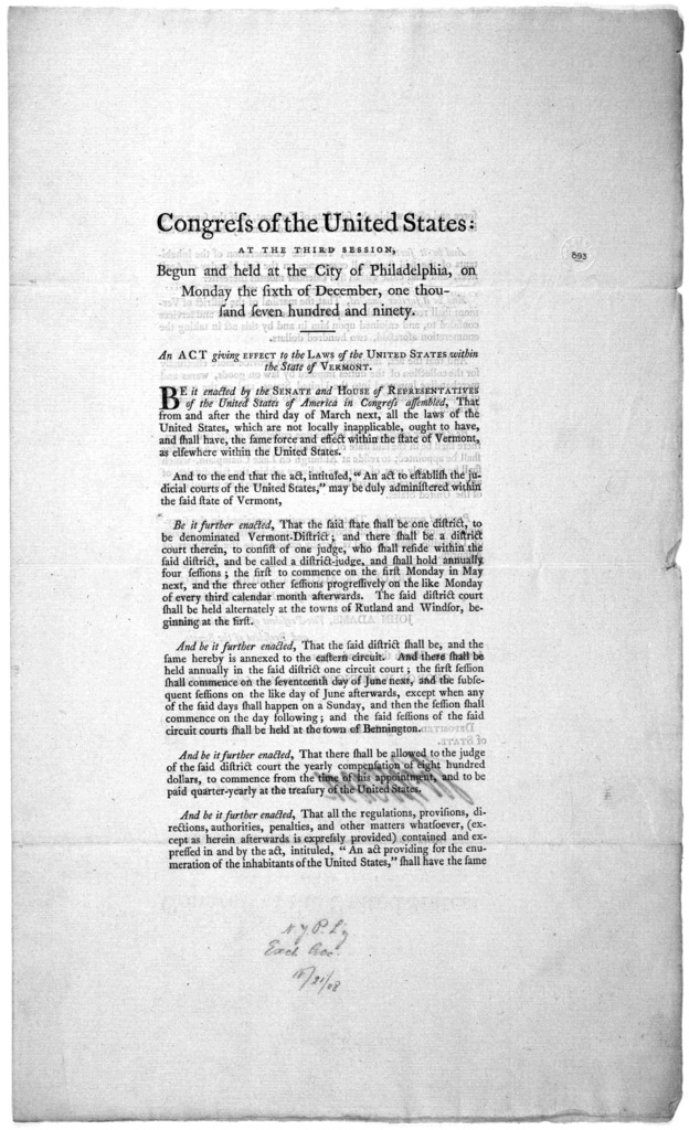 ... An act giving effect to the laws of the United States within the state of Vermont. [Philadelphia: Printed by Francis Childs and John Swaine. 1791.].
