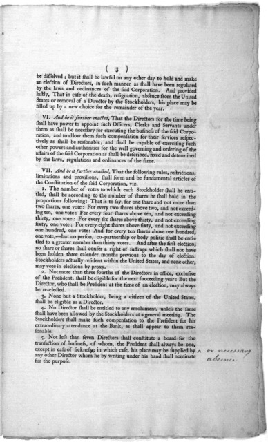 An act to incorporate the subscribers to the Bank of---- [Bank of the United States] [Philadelphia] Printed by John Fenno [1791].