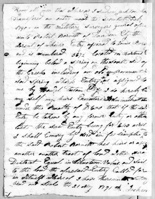 Andrew Jackson to Robert Barnett, May 21, 1791