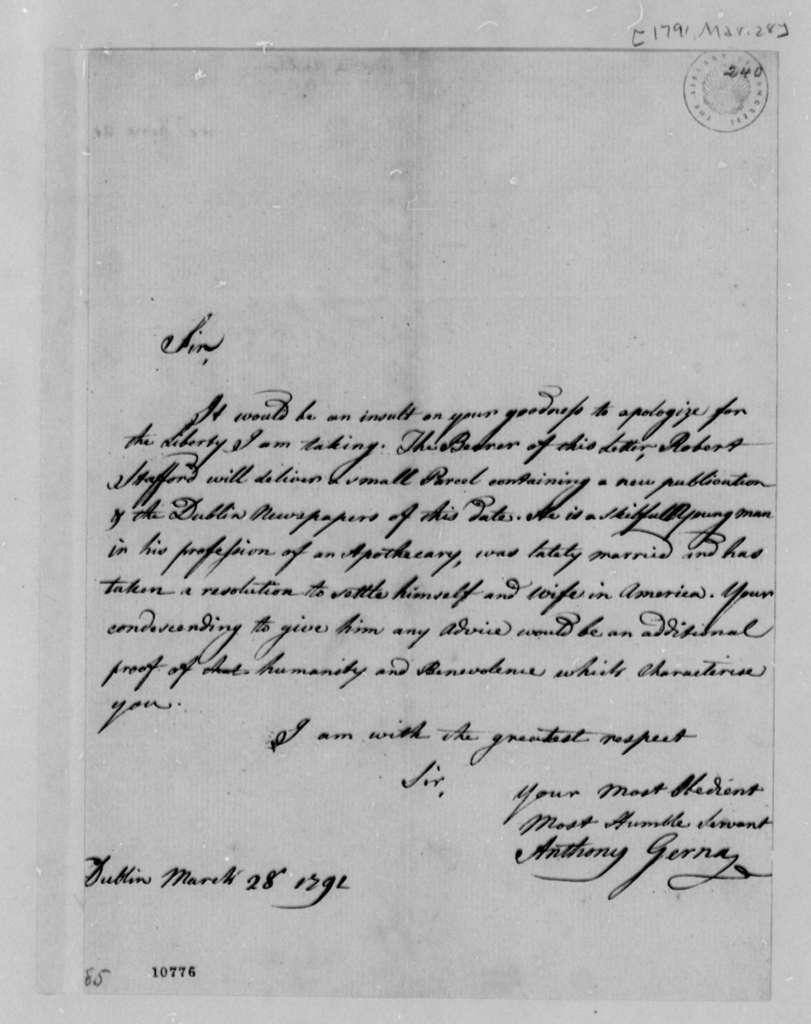 Anthony Gerna to Thomas Jefferson, March 28, 1791