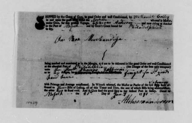 Atcheson Anderson to Thomas Jefferson, January 17, 1791, Bill