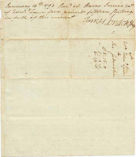 Bill from James Sodowsky to the estate of Edmund Lyne with receipt