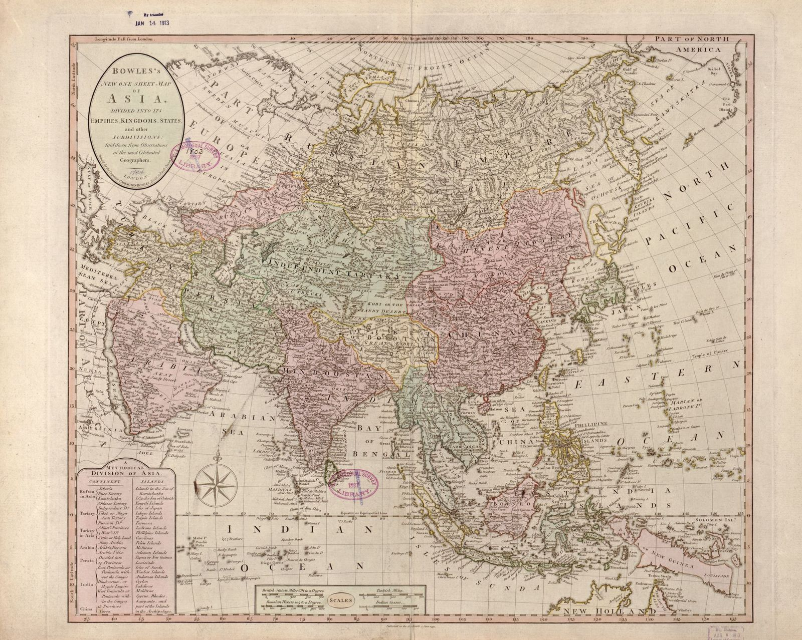 Bowles's new one-sheet map of Asia, divided into its empires, kingdoms, states, and other subdivisions  : laid down from observations of the most celebrated geographers.