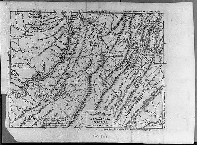 Carte des Environs du Fort Pitt et de la Nouvelle Province Indiana