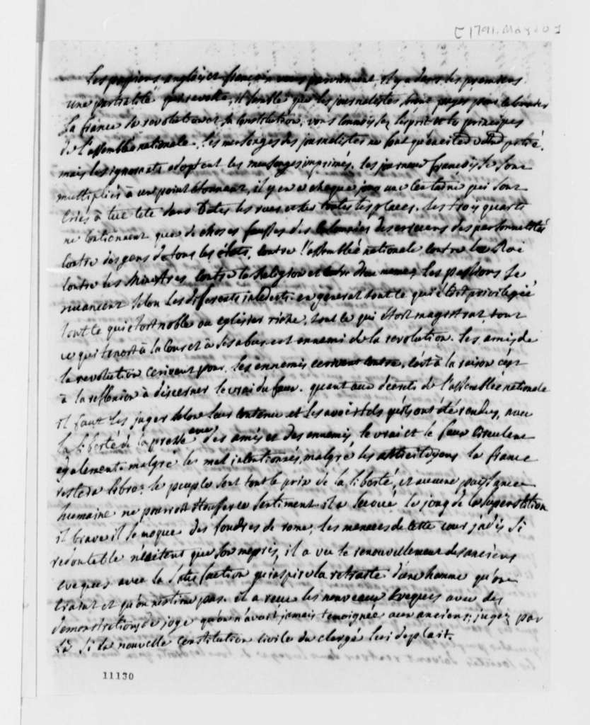 Chalut & Arnoux to Thomas Jefferson, May 20, 1791, in French