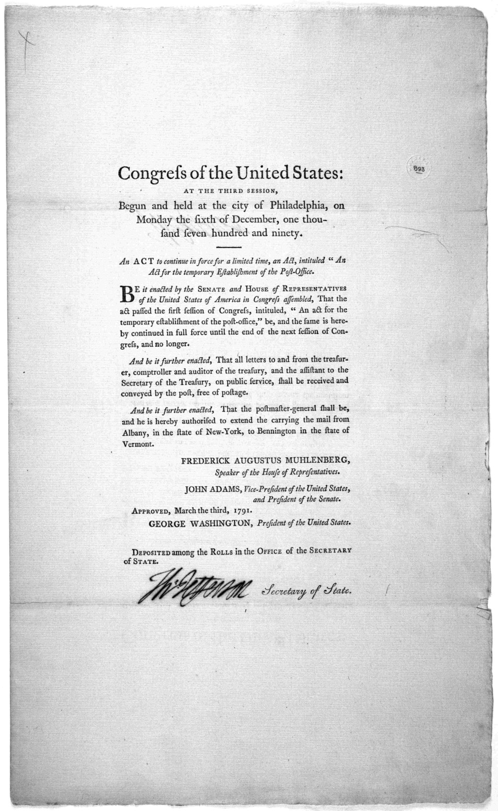 """Congress of the United States: at the third session, begun and held at the city of Philadelphia, on Monday the sixth of December, one thousand seven hundred and ninety. An act to continue in force for a limited time, an Act, intituled """"An act fo"""