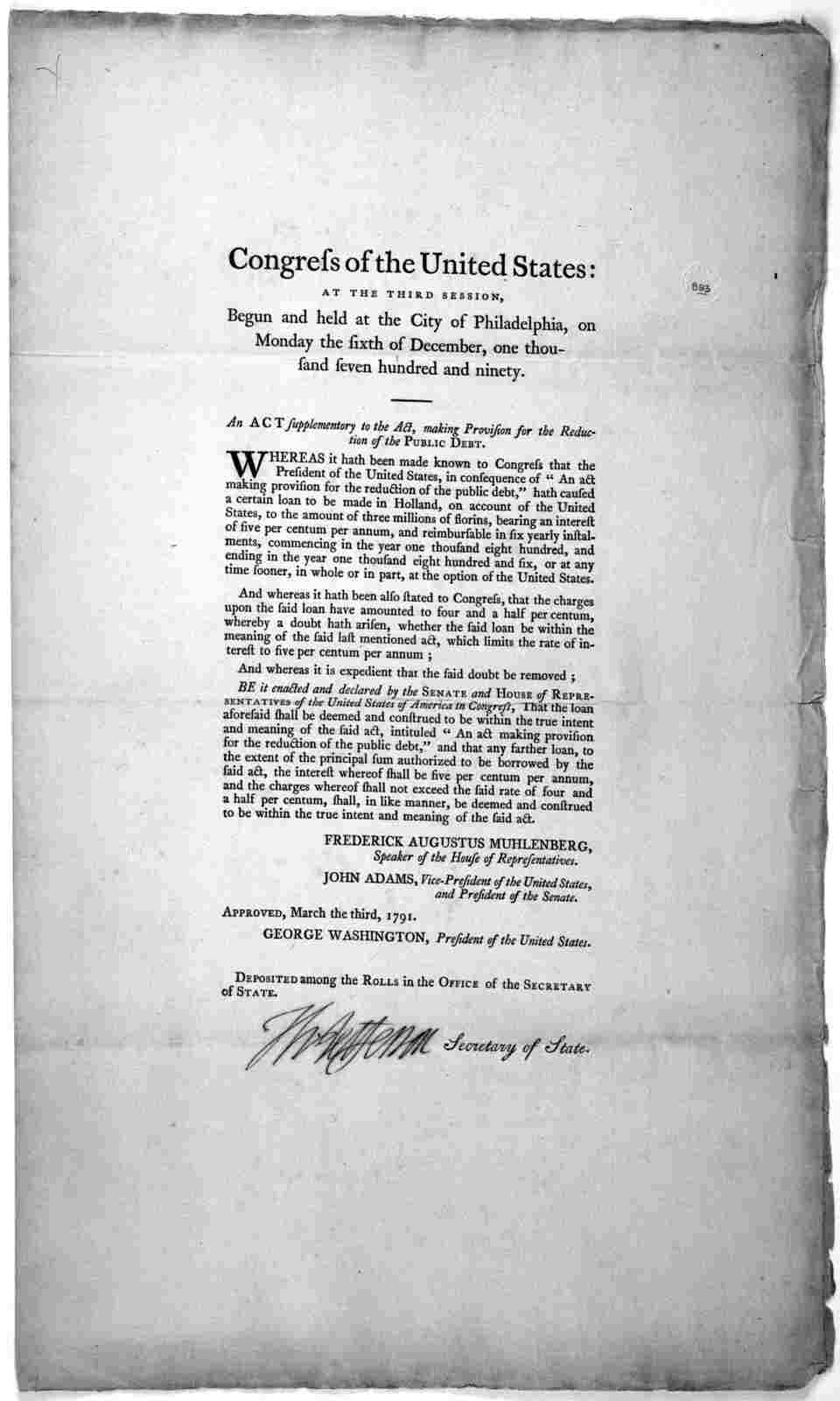 Congress of the United States: at the third session, begun and held at the City of Philadelphia, on Monday the sixth of December, one thousand seven hundred and ninety. An act supplementory to the act, making provision for the reduction of the p