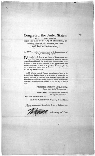 Congress of the United States: at the third session, begun and held at the City of Philadelphia, on Monday the sixth of December, one thousand seven hundred and ninety. An act for making compensations to the Commissioners of loans for extraordin