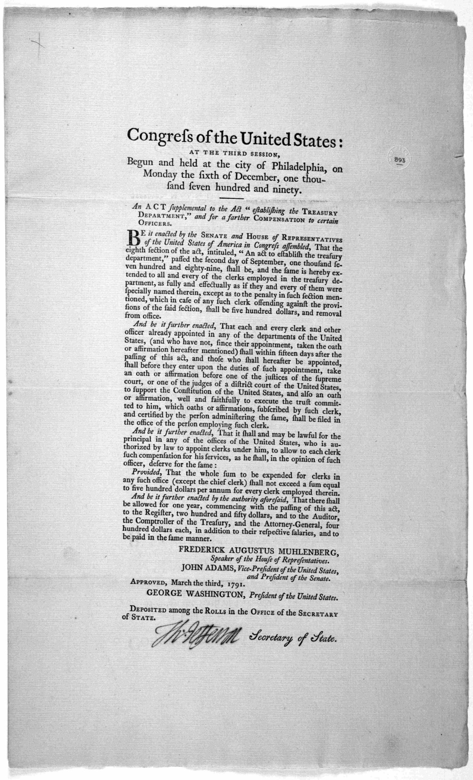 """Congress of the United States: at the third session, begun and held at the City of Philadelphia, on Monday the sixth of December, one thousand seven hundred and ninety. An act supplemental to the Act """"establishing the Treasury Department"""" and fo"""