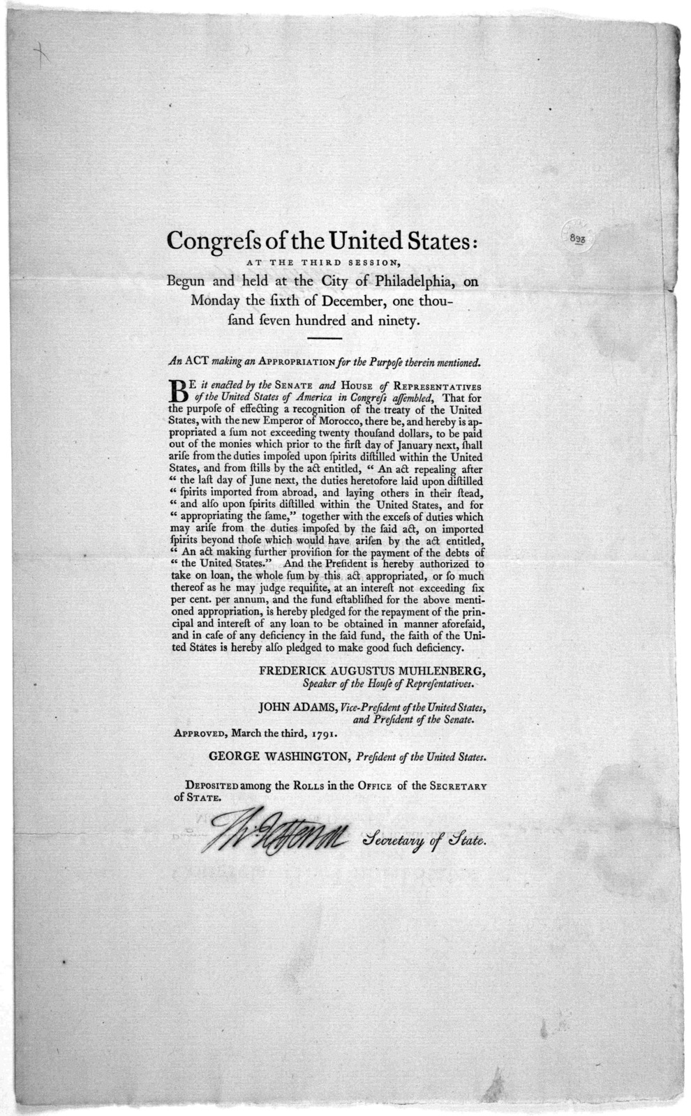 Congress of the United States: at the third session, begun and held at the City of Philadelphia, on Monday the sixth of December, one thousand seven hundred and ninety. An act making an appropriation for the purposes therein mentioned [effecting