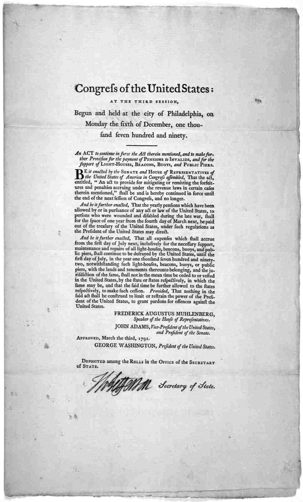 Congress of the United States: at the third session, begun and held at the City of Philadelphia, on Monday the sixth of December, one thousand seven hundred and ninety. An act to continue in force the act therein mentioned, and to make further p