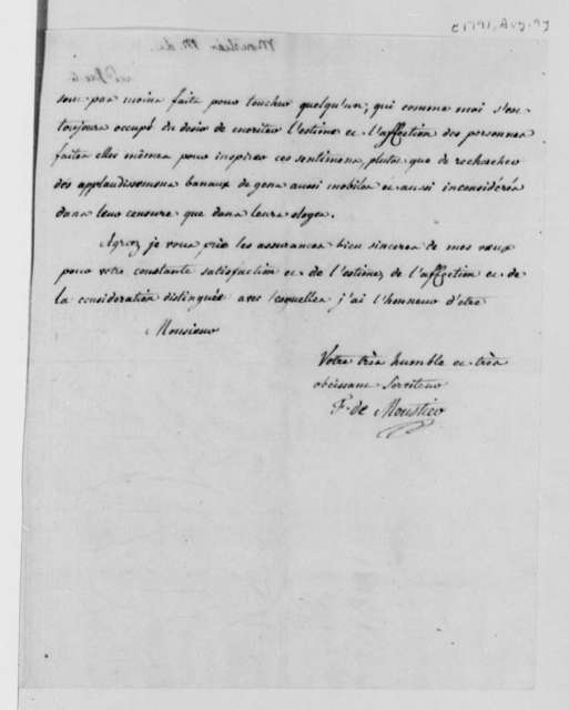 Count de Moustier to Thomas Jefferson, August 9, 1791, in French