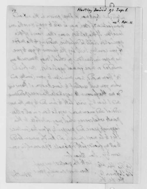 David Hartley to Thomas Jefferson, September 6, 1791