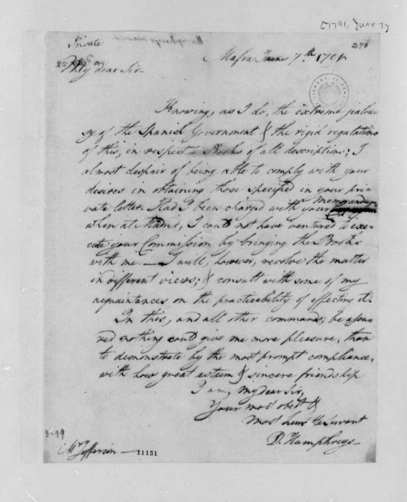 David Humphreys to Thomas Jefferson, June 7, 1791