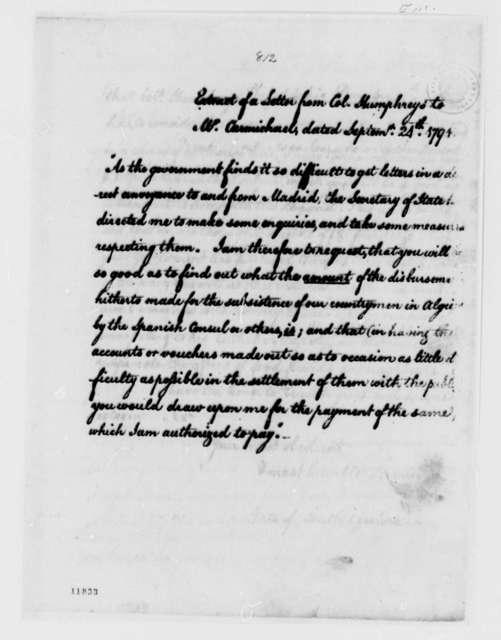 David Humphreys to William Carmichael, September 24, 1791