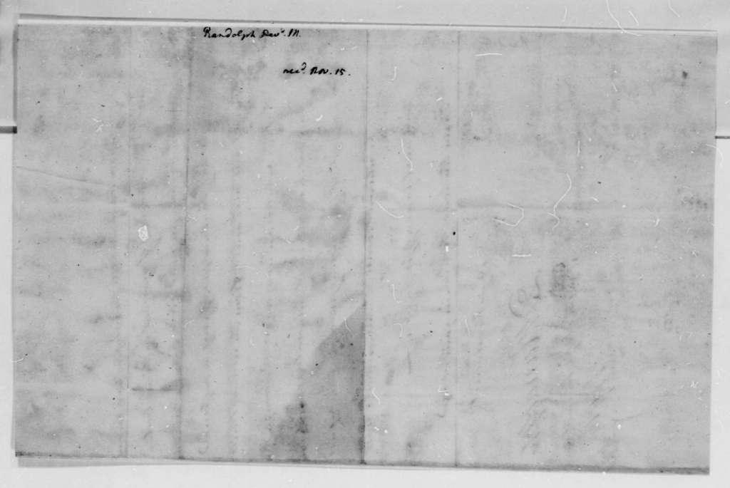 David Meade Randolph to Thomas Jefferson, November 7, 1791
