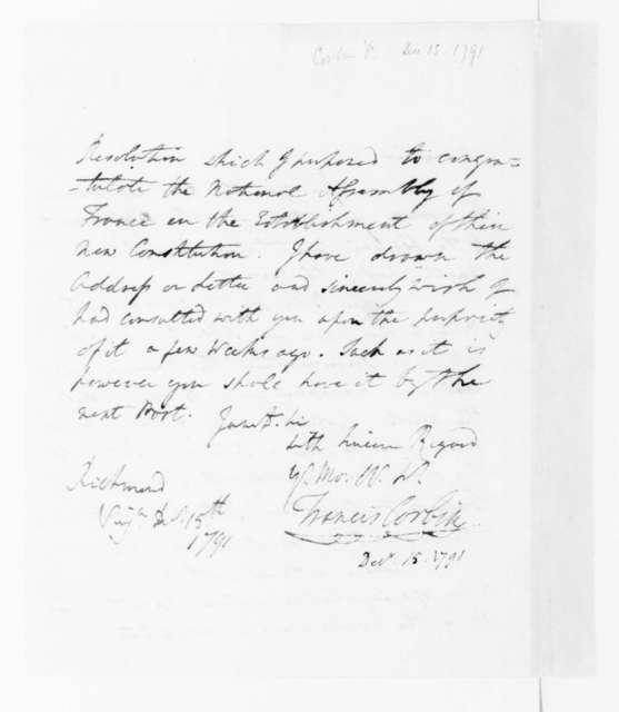 Francis Corbin to James Madison, December 15, 1791.