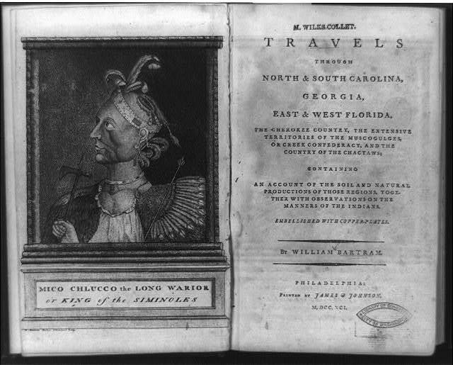 [Frontispiece portrait of Mico Chlucco, the Long Warrior, or King of the Seminoles and title page of Travels through North & South Carolina] / W. Bartram, Delin. ; J. Trenchard, sculp.