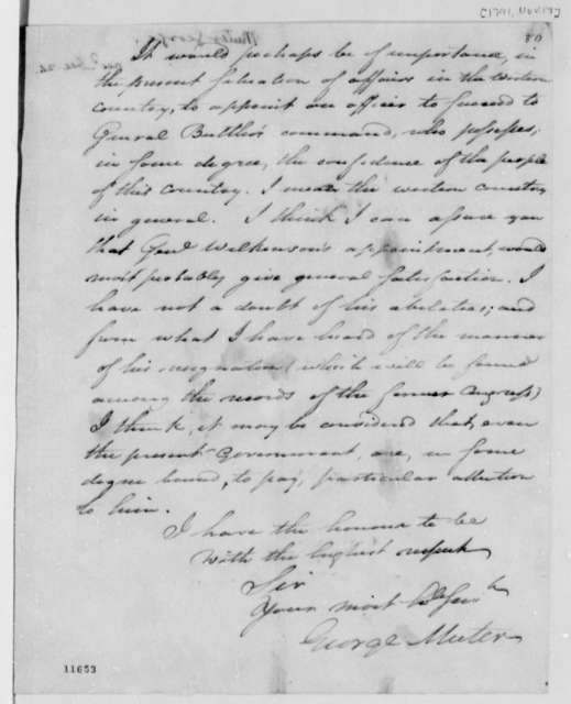 George Muter to Thomas Jefferson, November 17, 1791