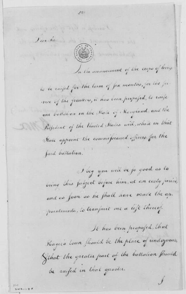George Washington Papers, Series 4, General Correspondence: Henry Knox to William Jackson, March 21, 1791, with Cost of Maryland Battalion