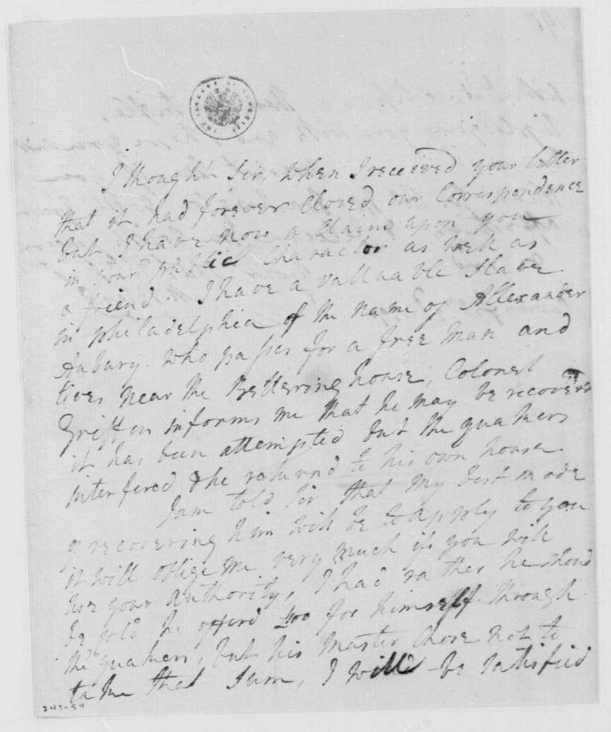 George Washington Papers, Series 4, General Correspondence: Martha D Bland to George Washington, February 23, 1791