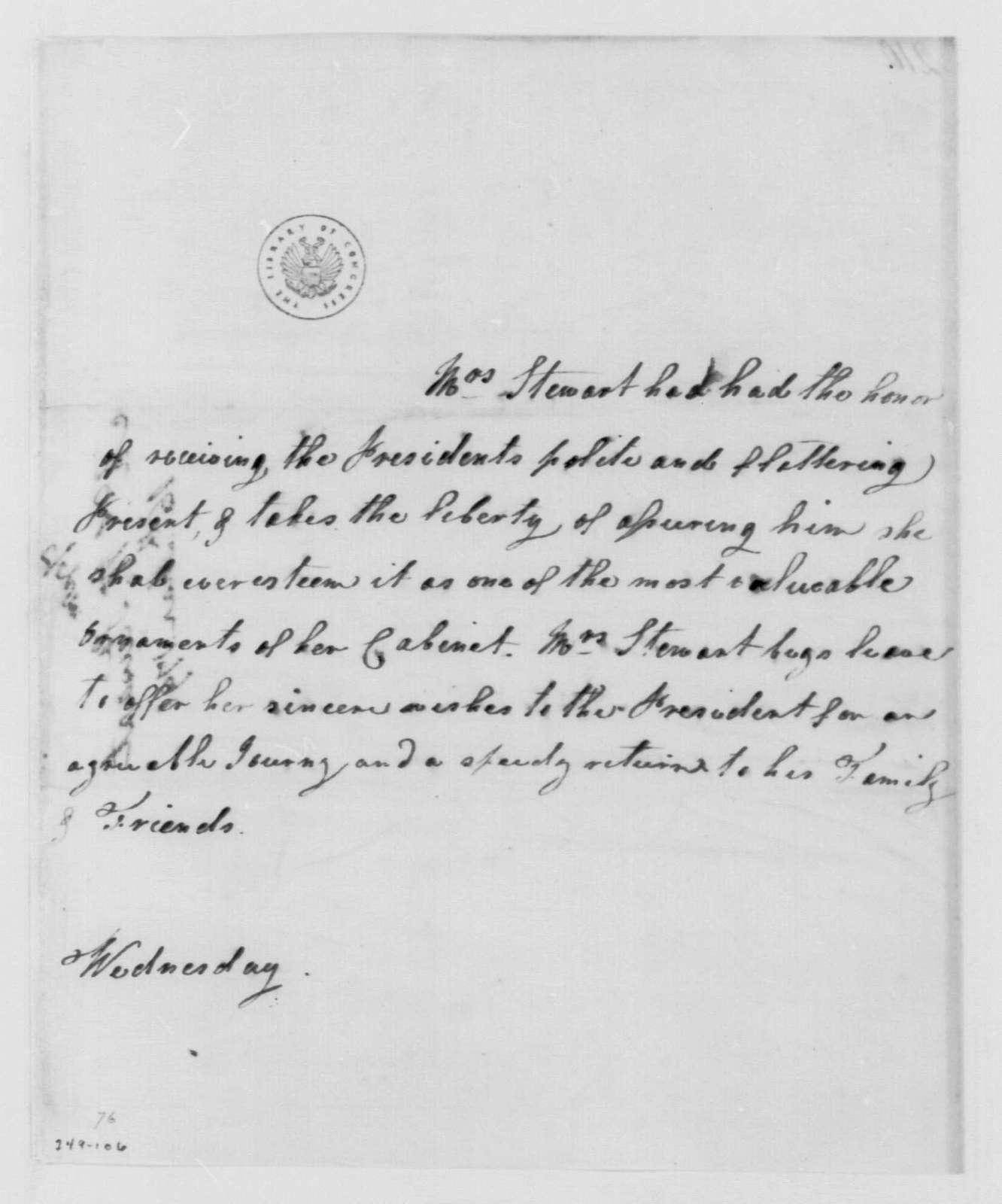 George Washington Papers, Series 4, General Correspondence: Mrs. Walter Stewart to George Washington, March 16, 1791