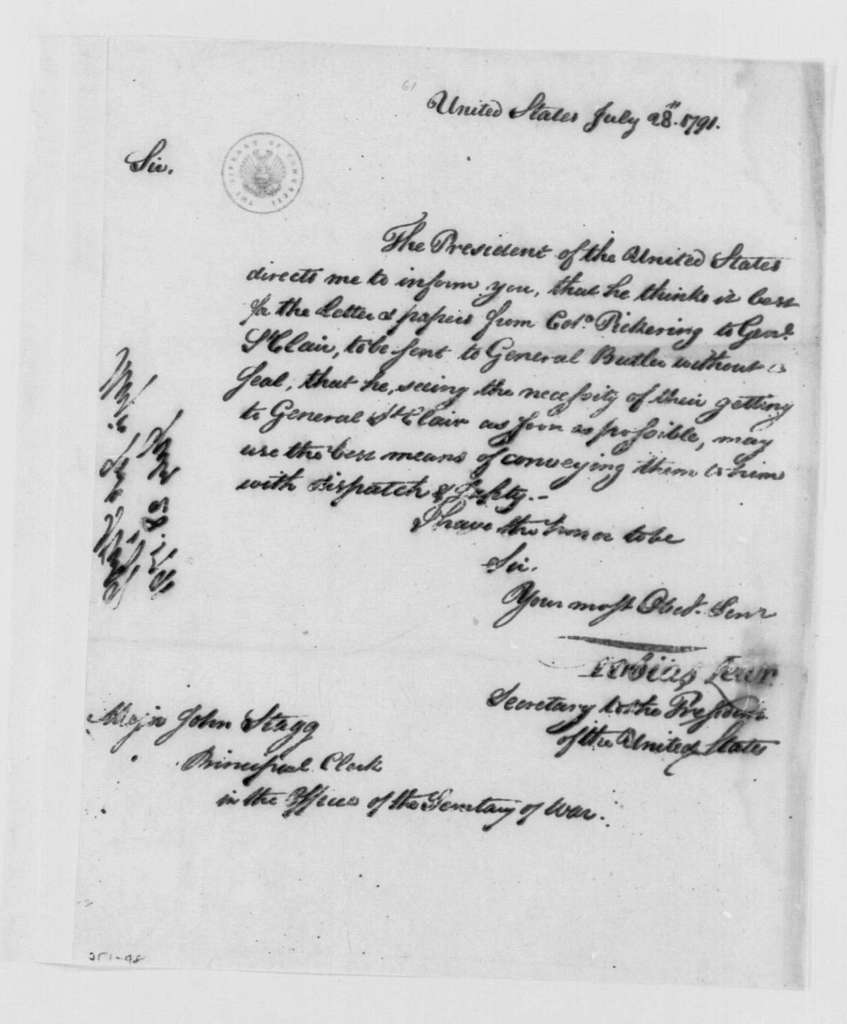 George Washington Papers, Series 4, General Correspondence: Tobias Lear to John Stagg Jr., July 28, 1791
