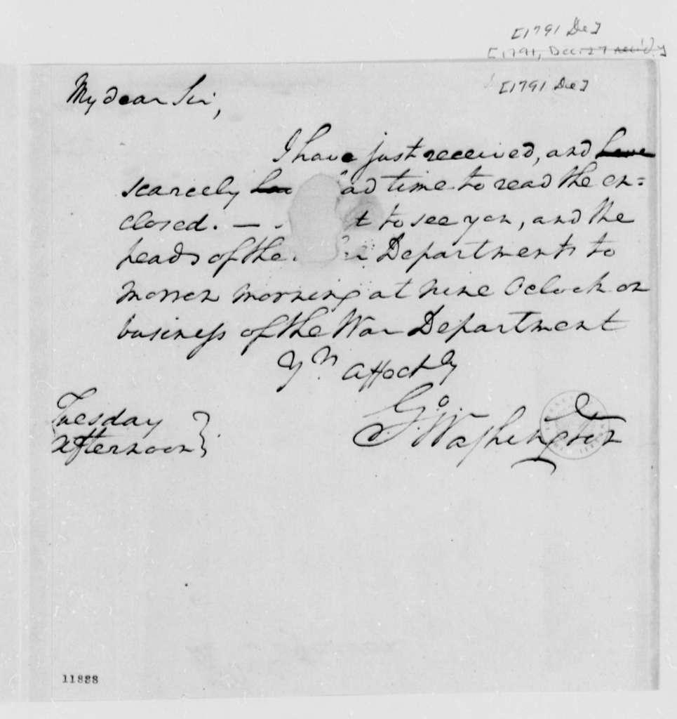George Washington to Thomas Jefferson, December 1791
