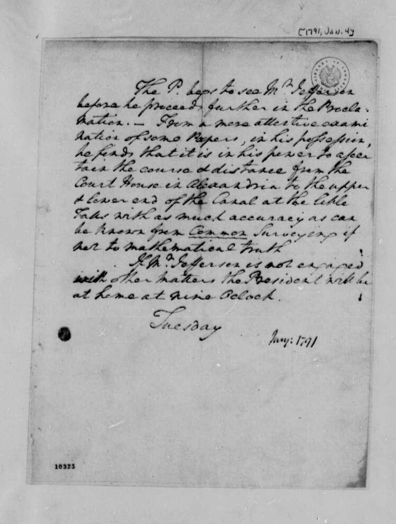 George Washington to Thomas Jefferson, January 4, 1791