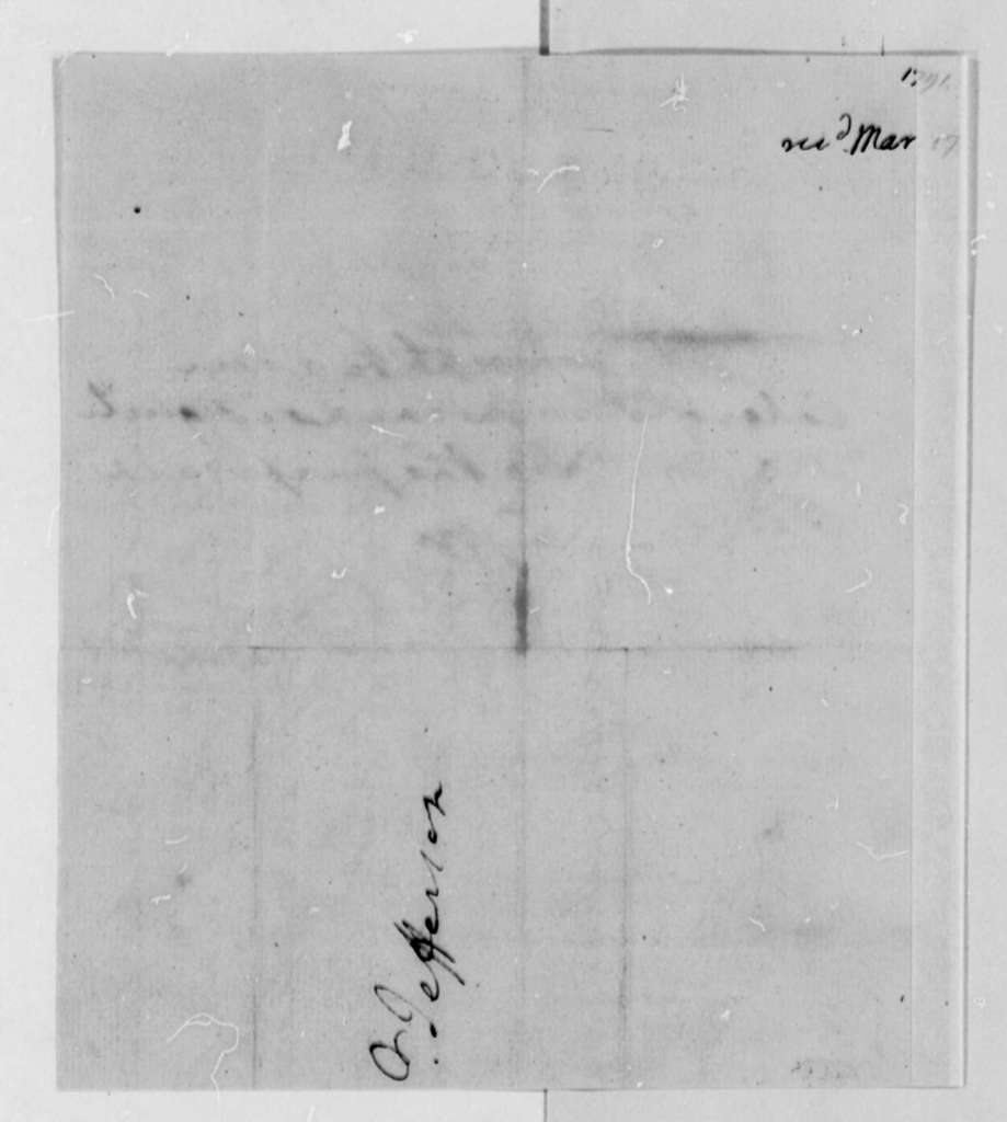 George Washington to Thomas Jefferson, March 17, 1791