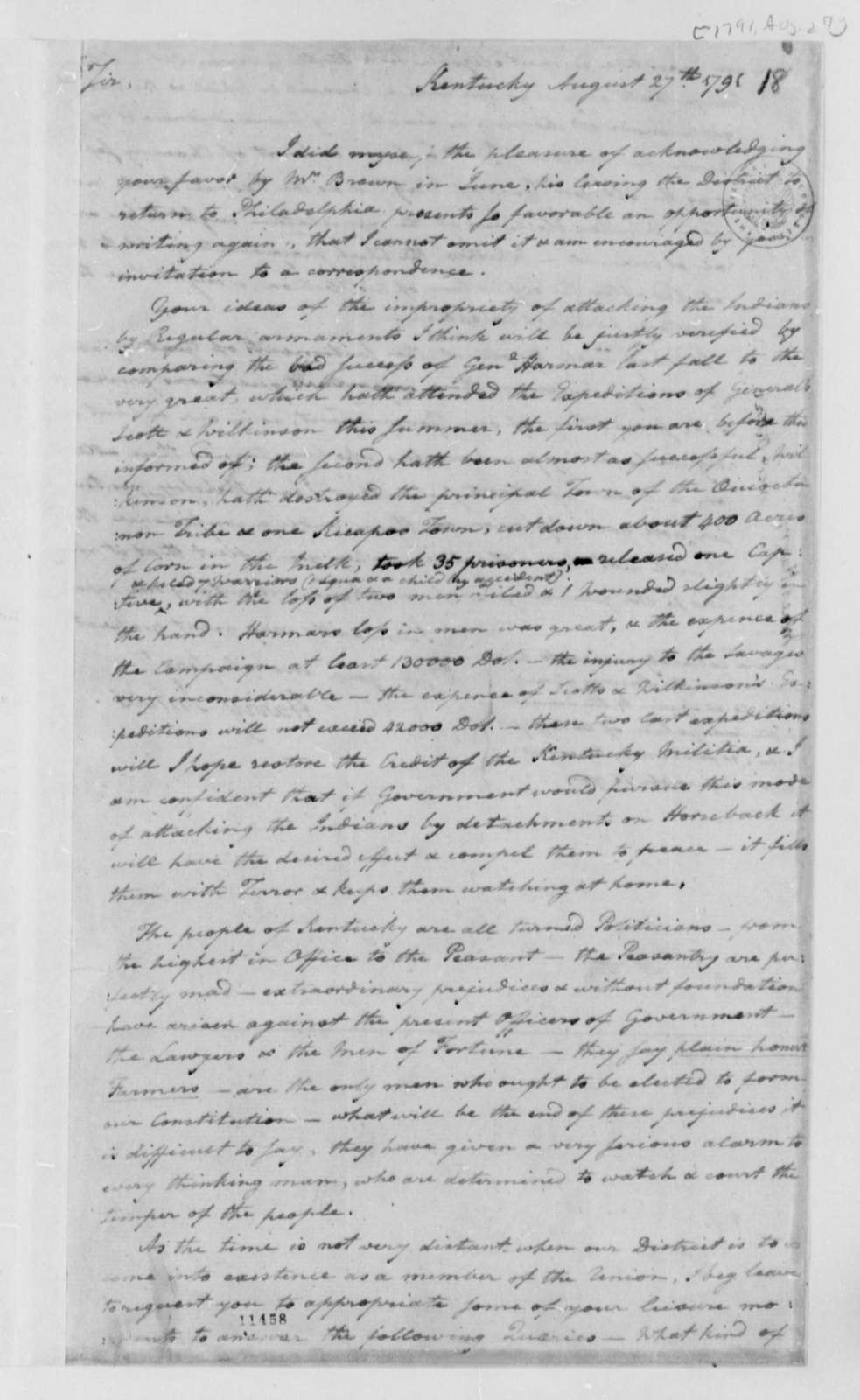 Harry Innes to Thomas Jefferson, August 27, 1791