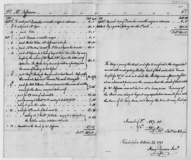 Henry Remsen, Jr. to Thomas Jefferson, October 24, 1791, Financial Account Table