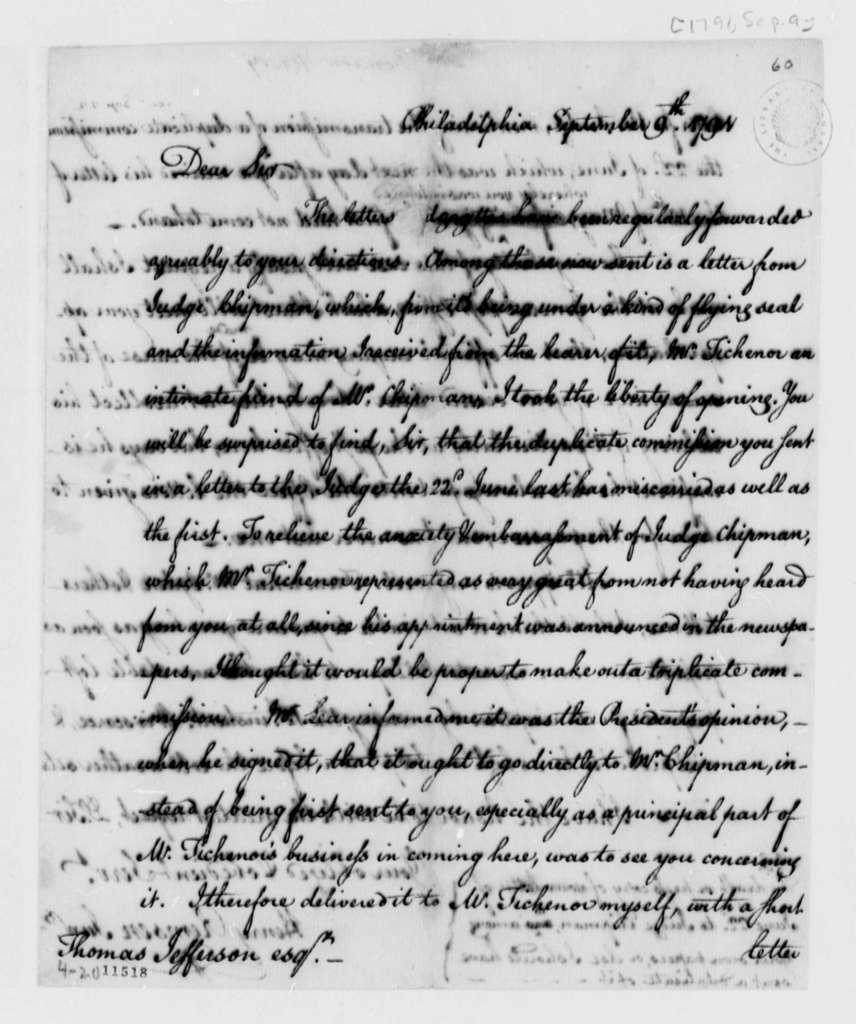 Henry Remsen, Jr. to Thomas Jefferson, September 9, 1791