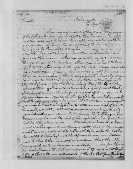 Henry Skipwith to Thomas Jefferson, April 7, 1791