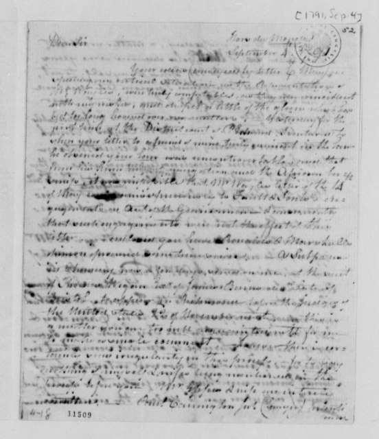 Henry Skipwith to Thomas Jefferson, September 4, 1791, Printed Letter